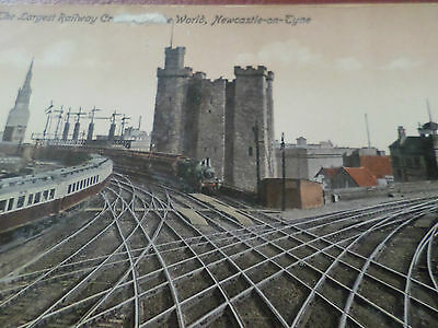 Old Postcard The Largest Railway Crossing in The World Newcastle-On-Tyne