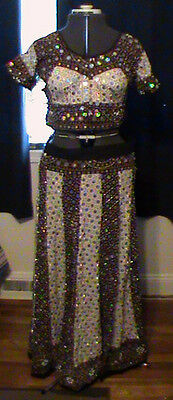 Cultural Ethnic Clothing Handmade Beaded / Sequin Skirt Set Multi-Color