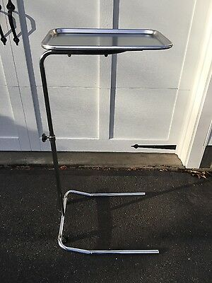 Vintage Stainless Steel Hospital Medical Tattoo Tray Adjustable Stand Cart