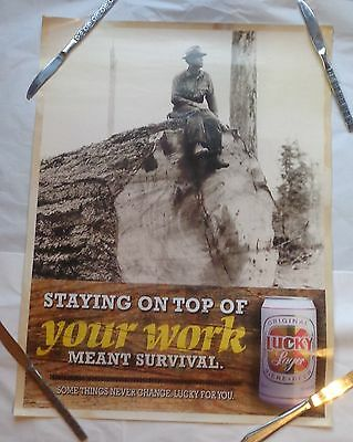 Lucky Lager Beer Poster Staying On Top Of Your Work Meant Survival