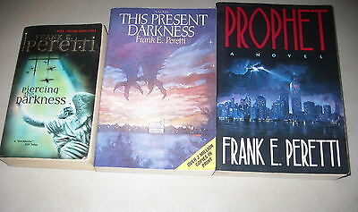 Frank Peretti Lot of 3 Supernatural Thrillers, Present Darkness, Piercing
