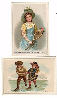 2 Victorian Trade Cards (Religious Quotes,Tennis and Ice Skating Themes)