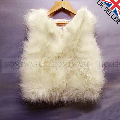 Girls Faux Fur Gilet Bodywarmer Sleeveless Kids Ivory Pink Ages 4 - 14 Years New