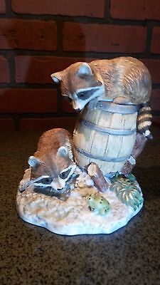 1984 Enesco Porcelain Raccoon Duo on Barrel Playing with a Frog Figurine #72168