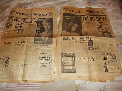 Vintage News Of The World  Newspapers X 2  Promfumo Affair Scandal