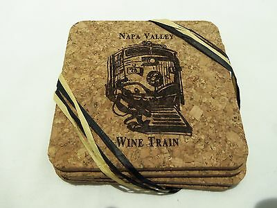 Napa Valley Wine Train Cork Coasters (Set Of 4) With Gold Seal-Wine Lovers-Rare