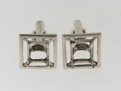 Vintage Square Open Frame Men's Cuff Link Mountings In .925 Sterling Silver