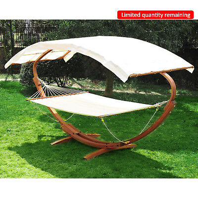 Outsunny Wooden Canopy Double Hammock Bed Garden Outdoor Free Standing Lounger