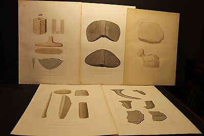 Seth Eastman, New York Indian Stone, Wood & Clay Implements, Sepia liths 1852