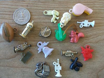 Vintage Plastic Metal Charms Lot of SEVENTEEN Gumball Cracker Football Whistle