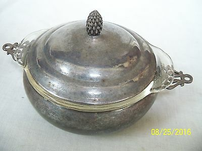 Vintage Sheffield Silver Serving Bowl & Lid with Anchor Hocking Fire King Bowl