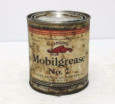 Vintage MOBILGREASE No 2 GARGOYLE tin can SOCONY OIL COMPANY Mobil Oil Grease