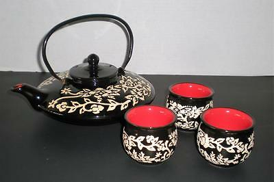 Vintage Asian Japanese Double Walled Tea Set of4 Black/White Floral Red Interior