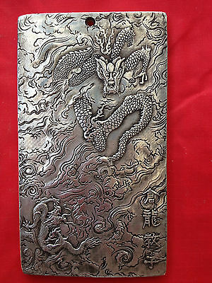 China old Tibetan silver hand-carved Yinlong statue Thangka