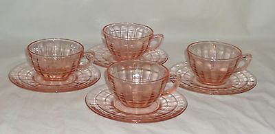 4 Anchor Hocking BLOCK OPTIC PINK *PLAIN HANDLE CUPS & SAUCERS w/RINGS*