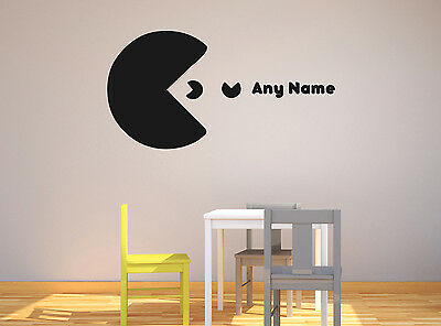 Personalised Pacman Any Name Vinyl Wall Sticker Home Mural Decor Room Decal Art