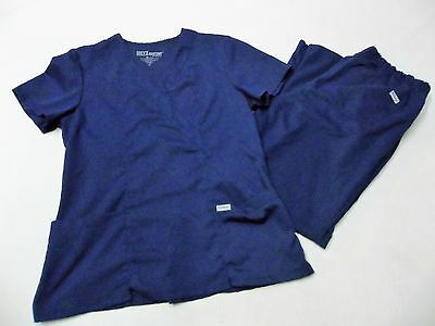 Grey's Anatomy Navy Blue Scrub Pants Style #4232 & Pullover Top #41101 Size M