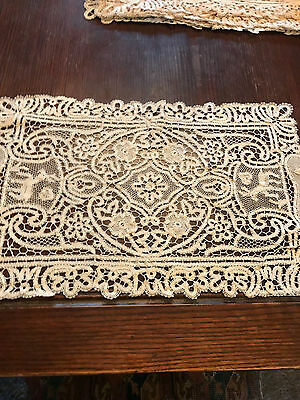 Antique Italian handmade lace tablecloth needle lace place mats lot of 10