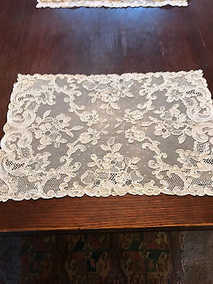 Antique Italian handmade lace tablecloth place mats lot of 6