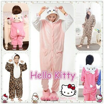 + NEW Unisex Adult Kid Kitty Cat Kigurumi Pajamas Anime Cosplay Costume Onesie +
