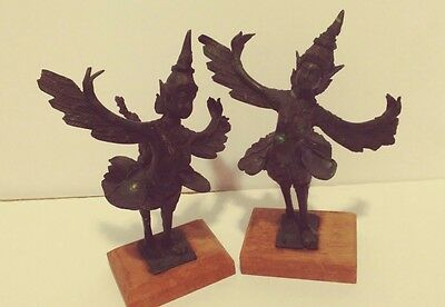 2 Rare Vintage Mythical Kinnaree Kinnaris Women Asian Bronze Sculptures Figures