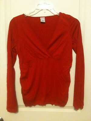 Old Navy Red Long Sleeve Maternity V-neck Top Size M