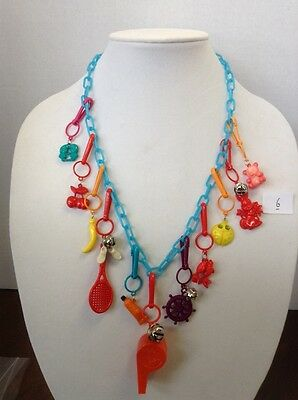 """11x 1980's Retro BELL CLIP CHARMS NECKLACE CHAIN  """"$10 MAX SHIP ON LOOSE CHARMS"""""""