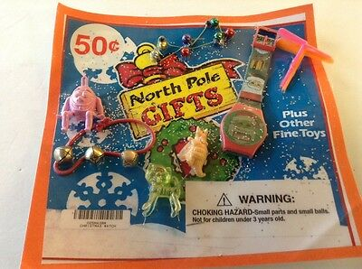 Vintage Christmas Watch NORTH POLE GIFTS Vending gumBall Machine Header Display