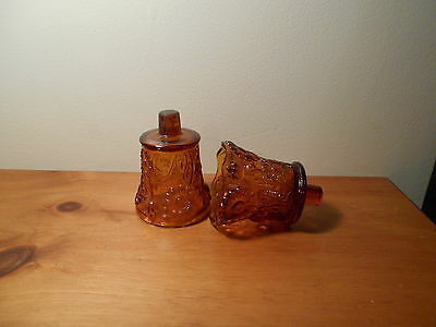 Amber Daisy Votive Cups Lot of 2 Homco Home Interiors