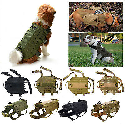 2017 Tactical K9 Dog Military Police Molle Vest Nylon Service Canine Harness