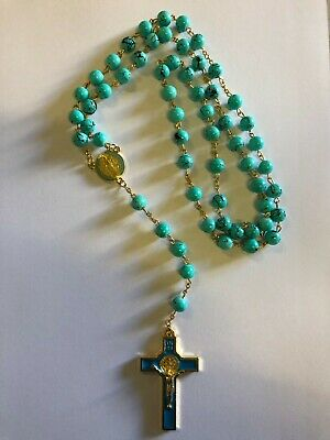 P-34*NEW* CYAN Glass ROSARY Beads Necklace With Crucifix and Photo Frame