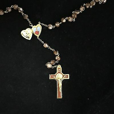 *NEW* BROWN Crystal Glass ROSARY Beads Necklace With Crucifix and Photo Frame