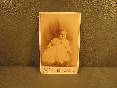 Victorian Antique Cabinet Card Photo of Young Baby Girl ......FREE SHIPPING