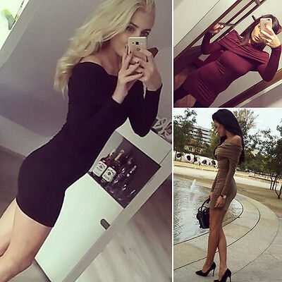 Fashion Women Casual Long Sleeve Bodycon Cocktail Evening Party Short Mini Dress