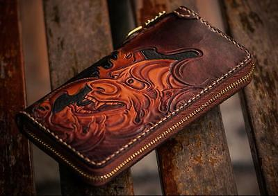 Handmade Cow Leather Hannya Wallet Purse Leather Carving Clutch Bag Wallet Chain