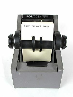 Vintage Rolodex Model 1753 Metal Gray Rotary Organizer w/ Cards Space Age MCM