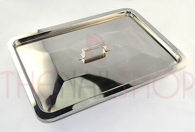 Large Stainless Steel Implement Sanitising Tray with Lid (30cm X 19cm X 5cm)