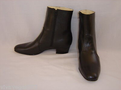 NEW Elvis BLACK 100% Leather Zip-Up Boots (Jumpsuit Era) Tribute Artist Costume