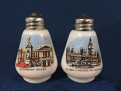 Vintage Milk Glass Salt And Pepper Shakers England. Buckingham Palace