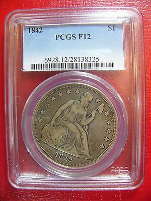 1842 Liberty Seated Silver Dollar PCGS F 12 Cert# 28138325