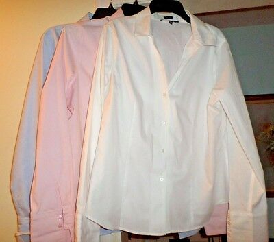 Jones NY Size 12 Taylored Pink/White/Blue Non Iron Button Career 3 in Lot Mint