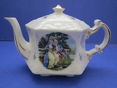 Vintage Ellgreave Wood Son Teapot Hexagon Lover Courting Couple Gold Rim England