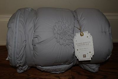 NWT Pottery Barn Teen Ruched Rosette sleeping bag gray *No Monogrm