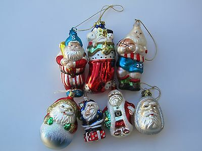 Lot of 7 Figural Glass Christmas Ornaments Santa