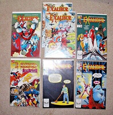 Lot of 7 various Excalibur Comics Marvel Vol 1 #1,2,4 from 1980s plus more