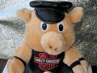 "Harley Davidson Motorcycles PIG  Biker Hog Plush Doll  9""  Leather Cap Tee  EUC"