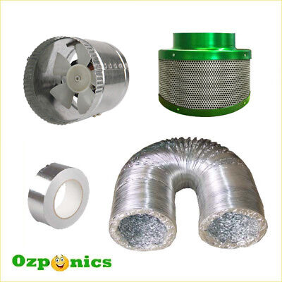 Hydroponics Ventilation Kit - 4 Inch Vent Fan + Ducting + Carbon Filter + Tape