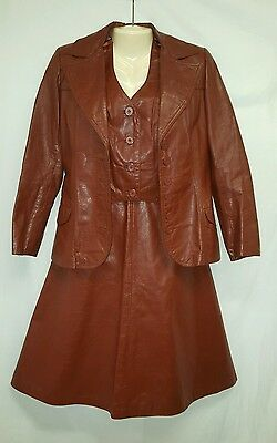 VTG 70's Leather Brown Skirt Suit 3 pc Piece Vest Jacket Blazer Western Country