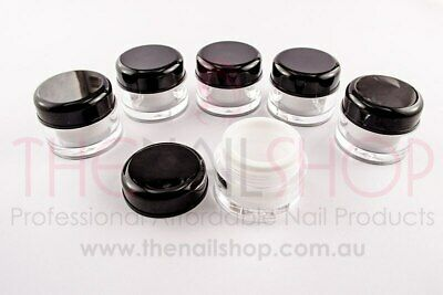 Clear, Black & White Empty Plastic Gel Nail Jars/Pots 5ml - 6 PCS