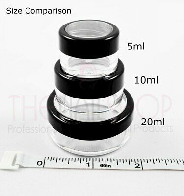 Black & Clear Empty Plastic Nail Cosmetic Pots/Jars 20ml - Individual or Bulk